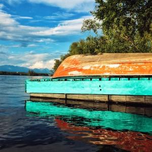 Canoe on dock - Lake Lucille